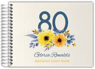 Elegant Yellow Floral Birthday Guest Book