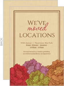Brown Linen And Flowers Moving Announcement