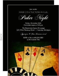 Rustic Poker Cards Corporate Event Invitation