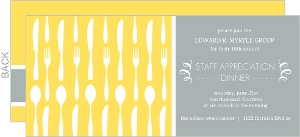 Flatware Yellow Gray Dinner Invitation