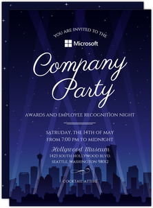 Hollywood City Night Business Party Invitation