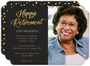 Faux Foil Happy Business Retirement Invitation