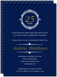 White Elegant Circle Frame Business Retirement Invitation