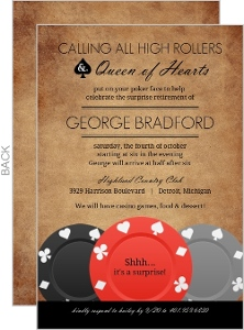 Brown Rustic Poker Business Retirement Invitation