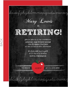 Red Apple Teachers Retirement Invitation