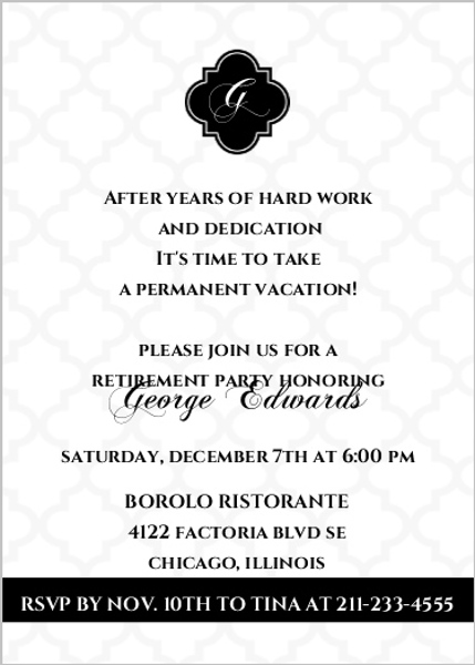 classic monogram retirement invitation
