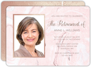 Blush Marble & Faux Rose Gold Business Retirement Invitation