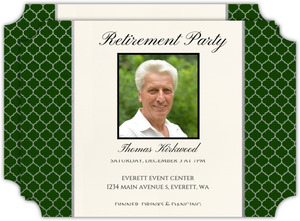 Silver Quatrefoil Pattern Business Retirement Invitation