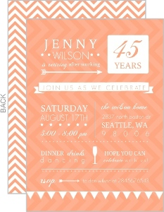 Modern Typographic Peach Retirement Invitation
