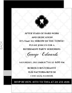 Classic Black White Dental Retirement Invitation