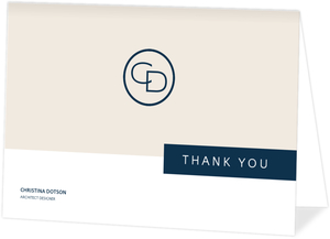 Tan Modern Blocks Business Thank You Card