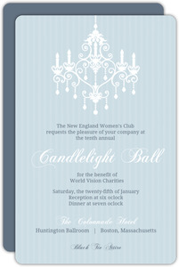 Blue Elegant Chandelier Corporate Event Invitation