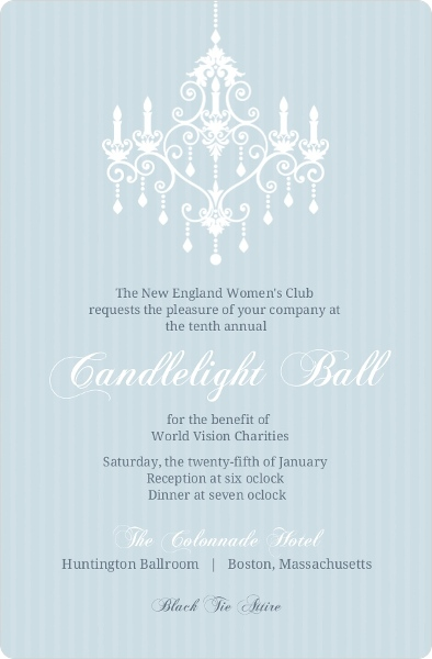 blue elegant chandelier corporate event invitation business event