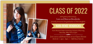 Maroon and Gold Banner Nursing School Graduation Invitation