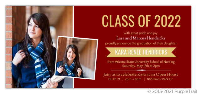 Maroon And Gold Banner Nursing School Graduation Invitation Graduation Invitations