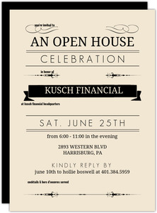 Cream and Black Typographic Corporate Open House Invitation