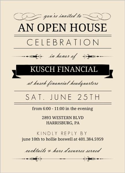 Cream And Black Typographic Corporate Open House Invitation