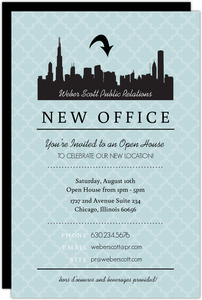Blue Skyline Open House Invitation
