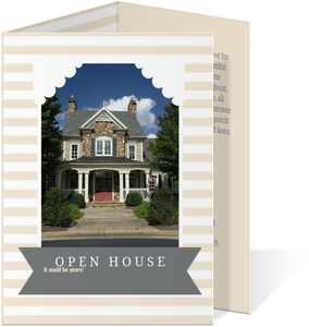 Cream Stripped Corporate Open House Invitation
