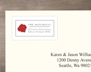 Red Christmas Flowers  Address Label
