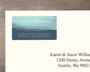 Blue Brushstroke Business Address Label