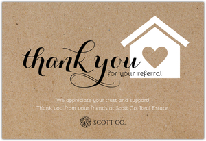 Rustic Wood Grain Referral Thank You Card