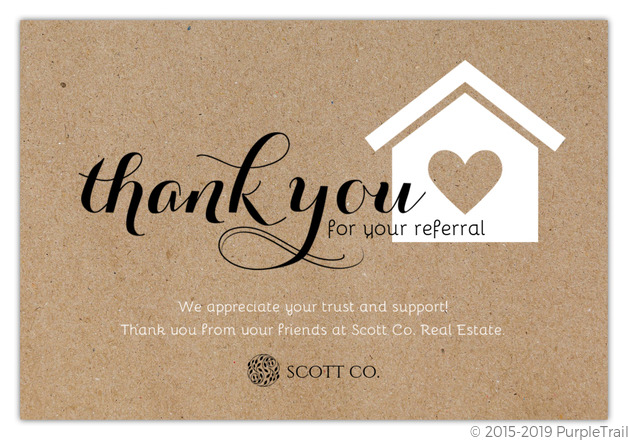 Rustic Wood Grain Referral Thank You Card Thank You Referral Cards