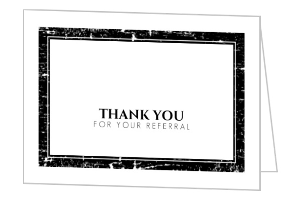 Black White Crackle Texture Referral Thank You Card Thank You