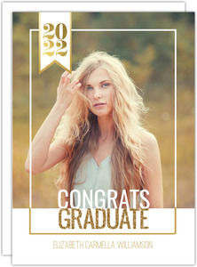 Modern Faux Glitter Graduate Photo Invitation