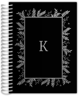 Silver Foliage Framed Initial Monthly Planner