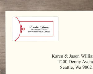 Classic Red And White Elegance Address Label