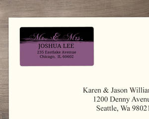 Black And Purple Painted Anniversary Address Labels
