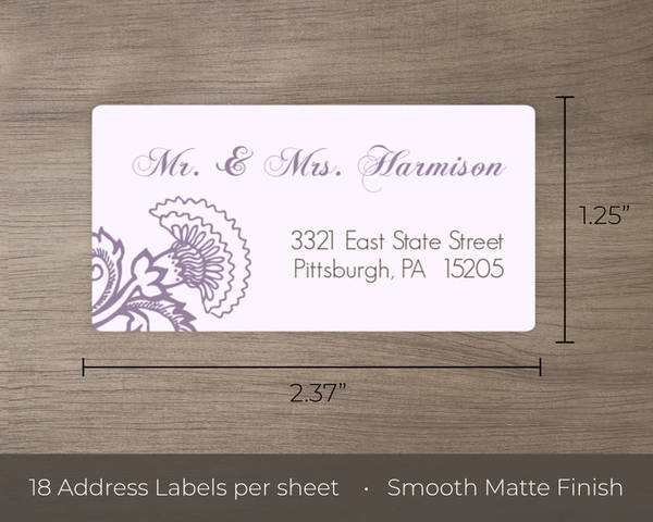 Elegant Lavender Floral Address Labels | Address Labels