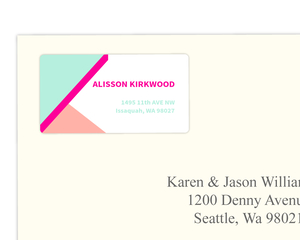 Modern Pink & Mint Typography Address Label