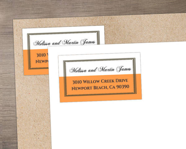 Vintage Orange and White 25th Anniversary  Anniversary Address Label