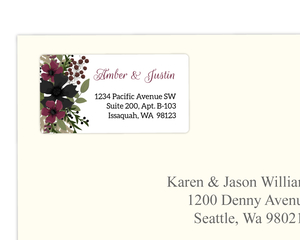 Burgundy & Black Floral Address Label