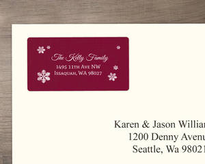 Red Burgundy Snowflake Address Label
