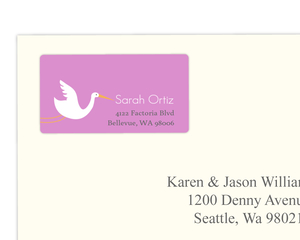 Purple Stork Address Label
