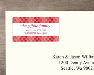 Red Festive Holiday Arrows Address label