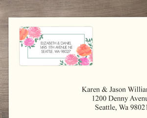 Pink Watercolor Peonies Address Label