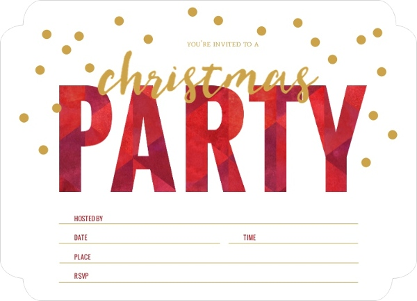 Geometric Red Fill In The Blank Holiday Party Invitation