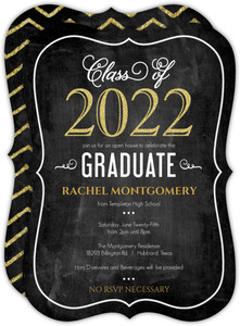 Chalkboard Glitter Celebrations Graduation Invitation
