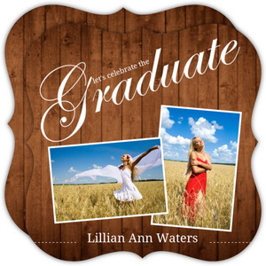 Classic Wood Grain Graduation Invite