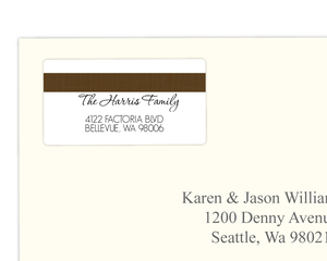 Sophisticated Brown Linen Address Label