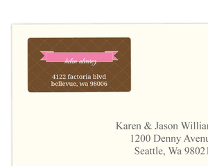 Pink And Taupe Quilted Address Label