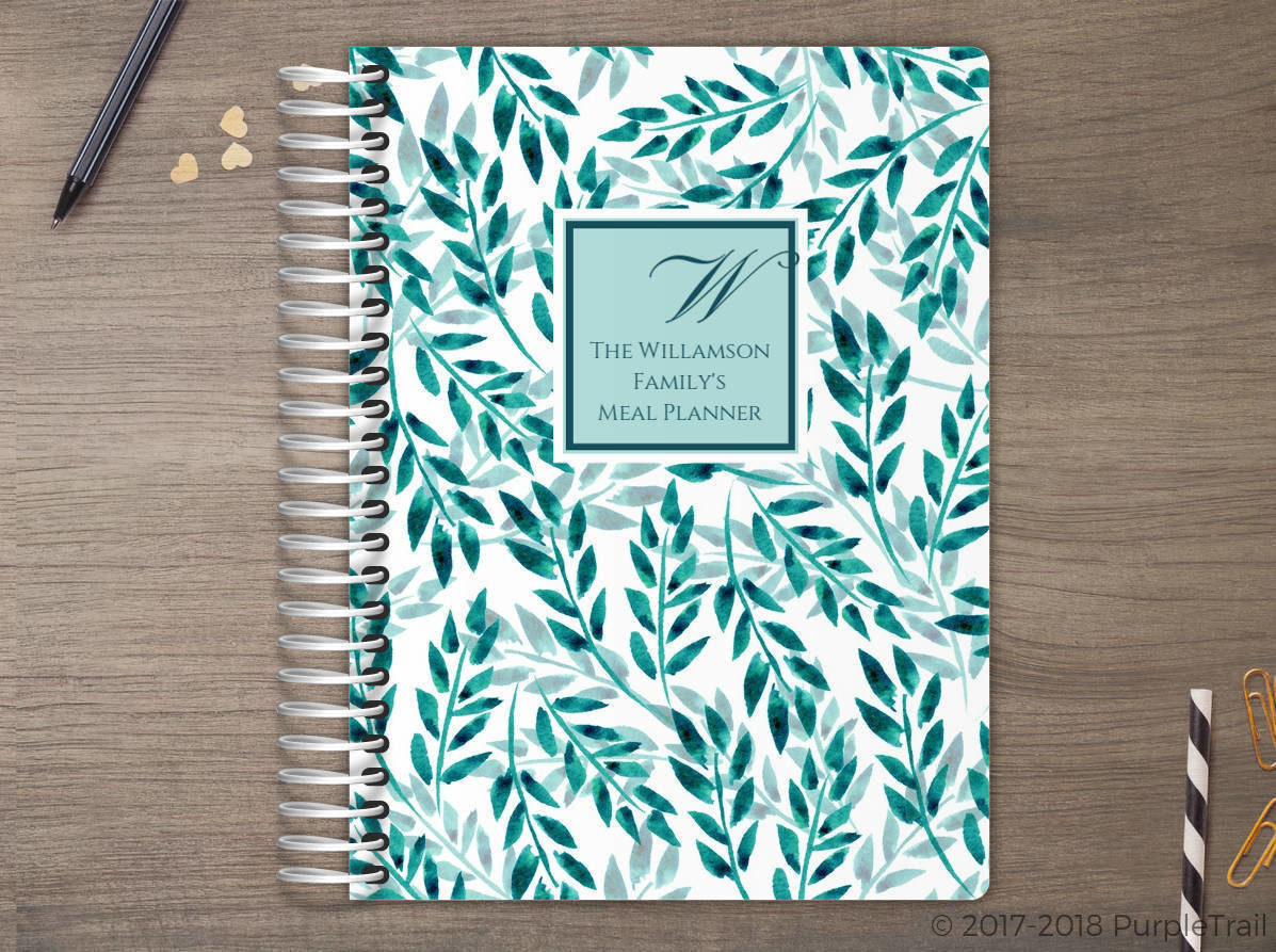 Leaf Pattern Watercolor Meal Planner