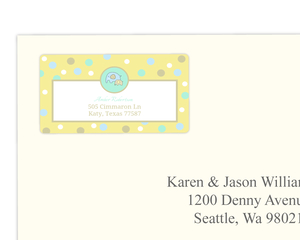 Sweet Yellow Baby Elephant Address Label