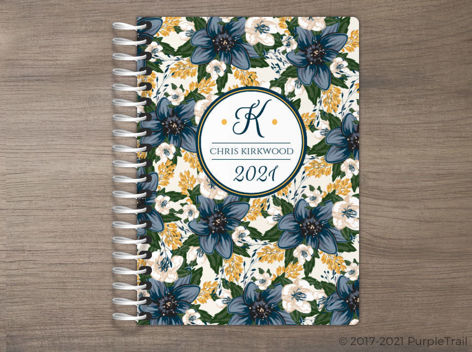 Beautiful Modern Blue Floral Tiny Planner