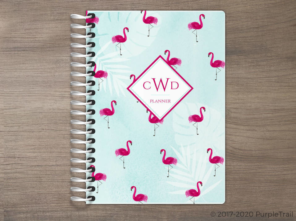 Tropical Watercolor Flamingo Pattern Tiny Planner