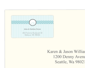 Blue Stripes And Dots Address Label